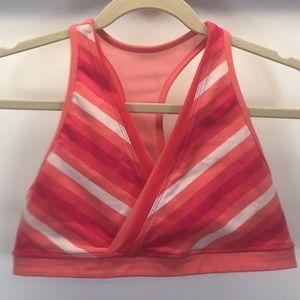 Lululemon Not So Deep V sports bra in pink stripes